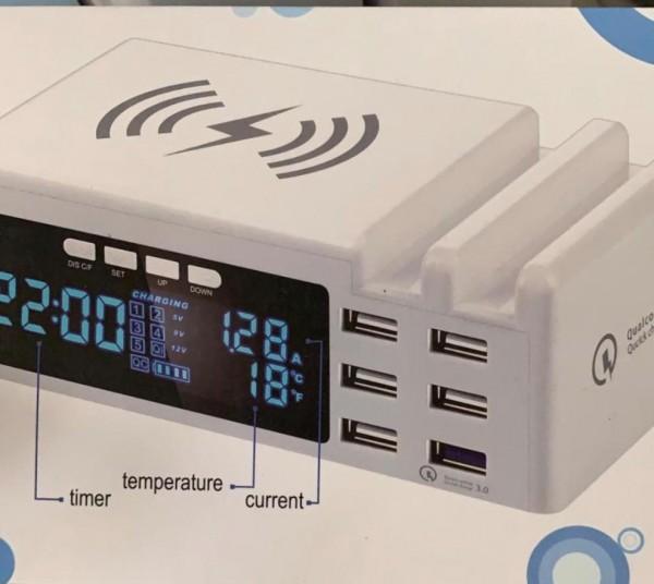 6 Anschlüsse Schnellladung USB-Ladegerät Induktion laden display Qualcomm