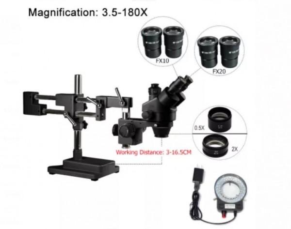 3.5X-180X Doppel Boom Simul Brenn trinocular stereo Mikroskop Löten
